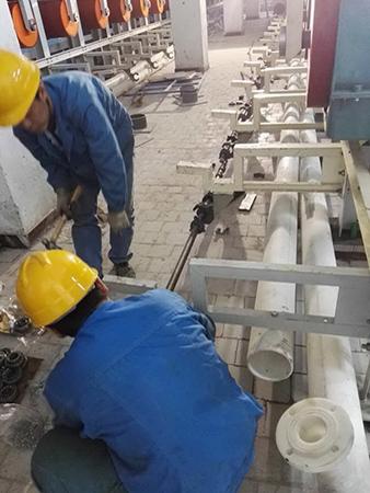 化纤厂喷淋装置安装现场
