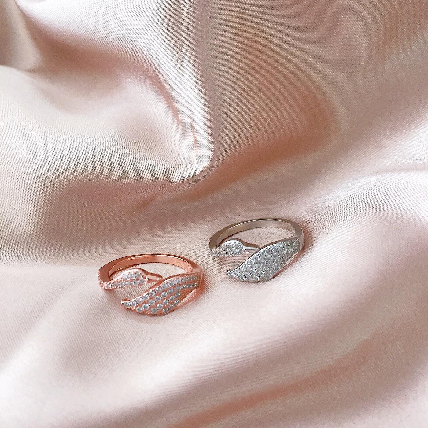 925银开口天鹅之旅礼物气质女IDO对戒指