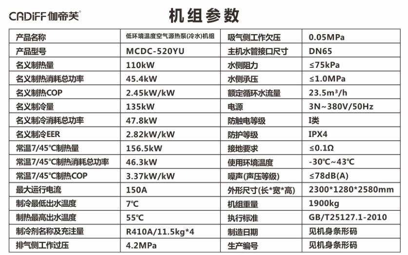 商用地暖冷气机MCDC-520YU