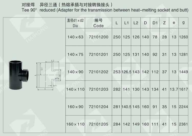 对接焊 异径三通(热熔承插与对接转换接头)