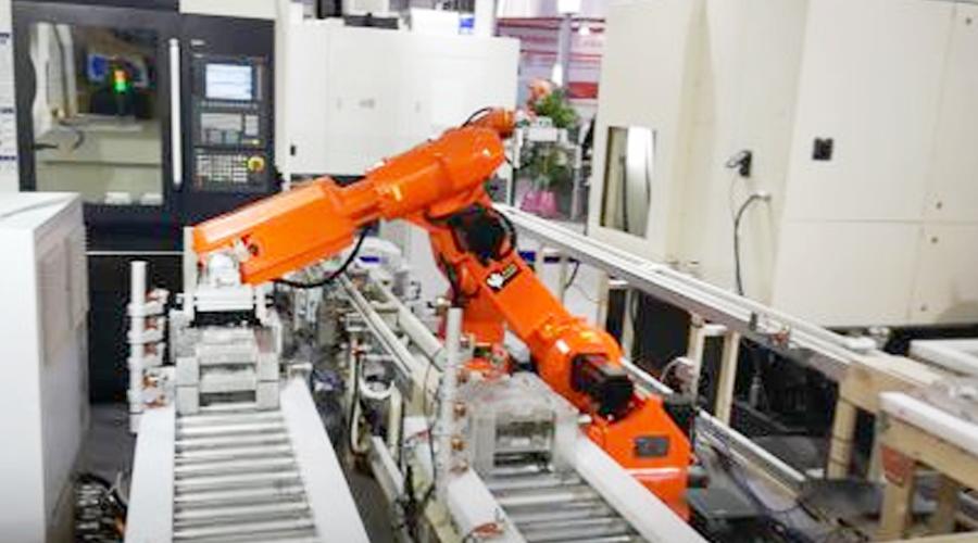工业机器人上下料自动生产线作业流程