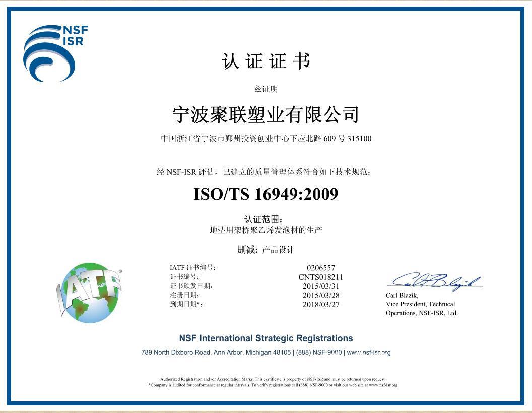 TS16949认证样本