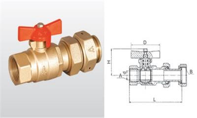 埃美柯球阀-Q11F-16T 黄铜水表接管球阀
