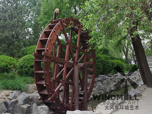 防腐木景观水车制作