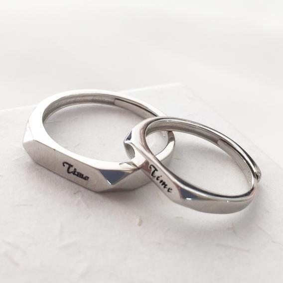 S925银TIME浪漫创意情侣男女IDO对戒指
