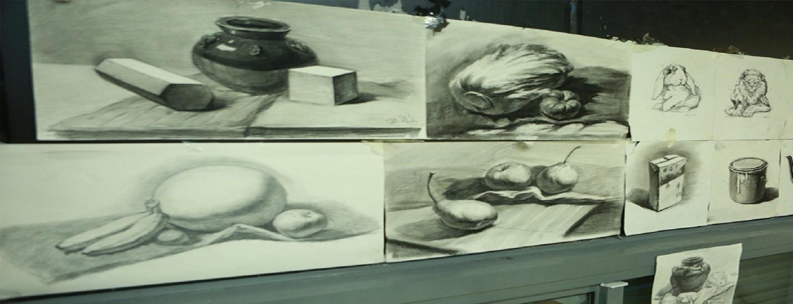 桔子素描绘画