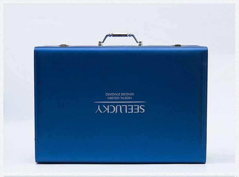蓝色高档化妆品皮盒包装