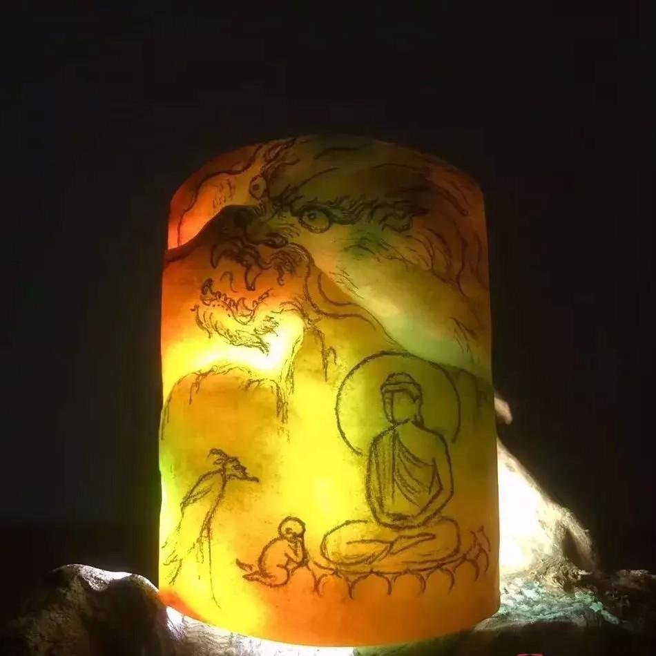石家庄黄+绿翡翠玉石挂件制作