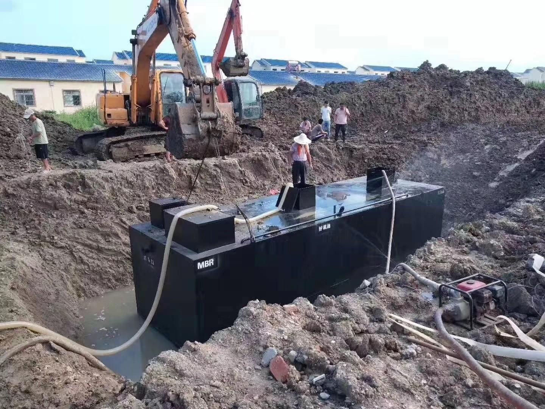 地埋式污水车处理施工现场一角