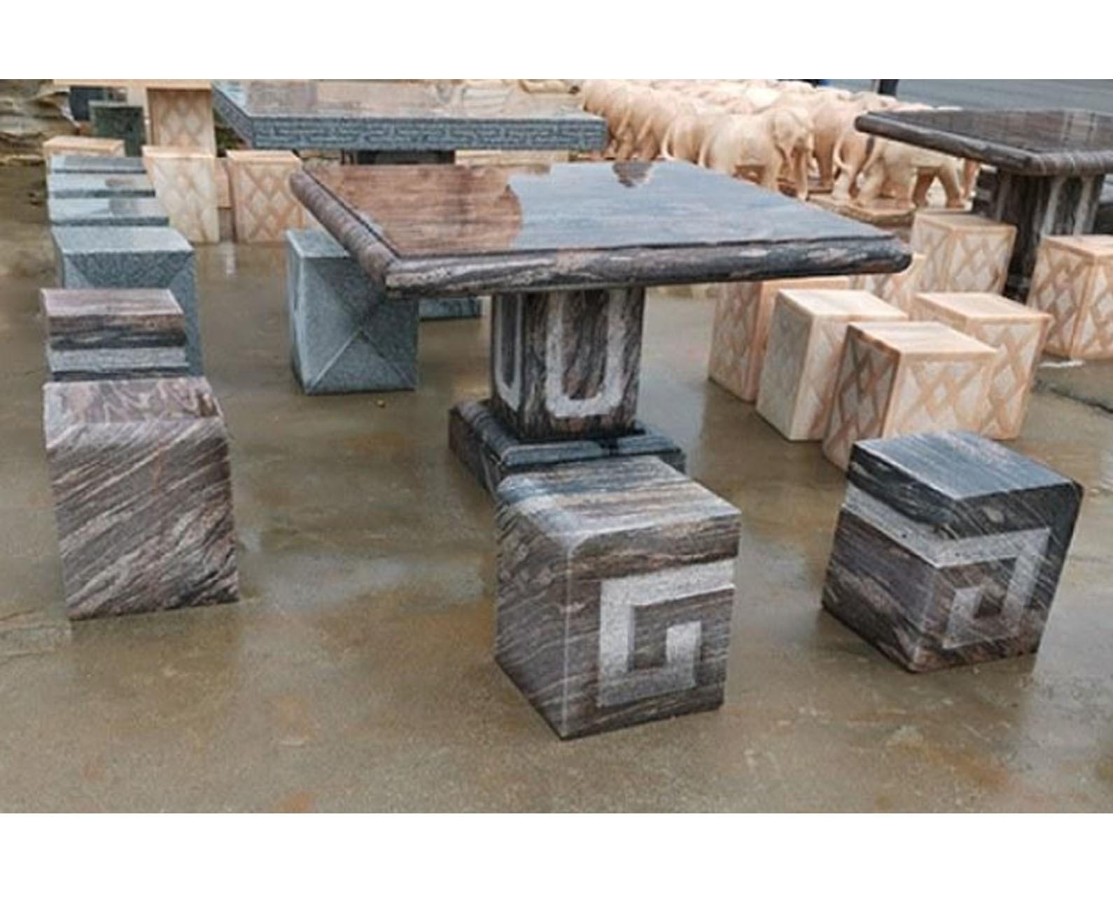 铁艺石材面户外桌椅