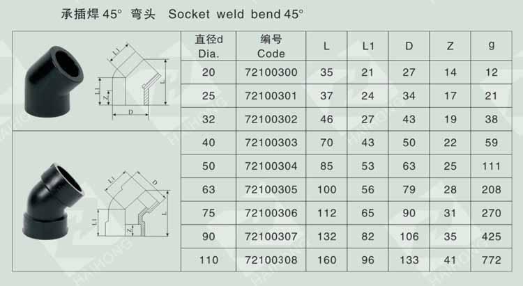 承插焊45° 弯头