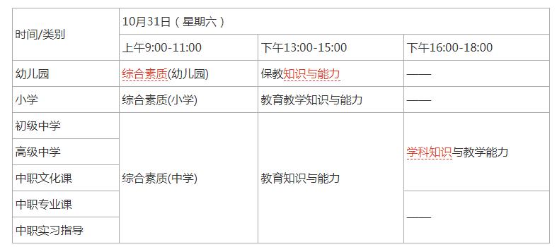 教师资格证考试时间安排
