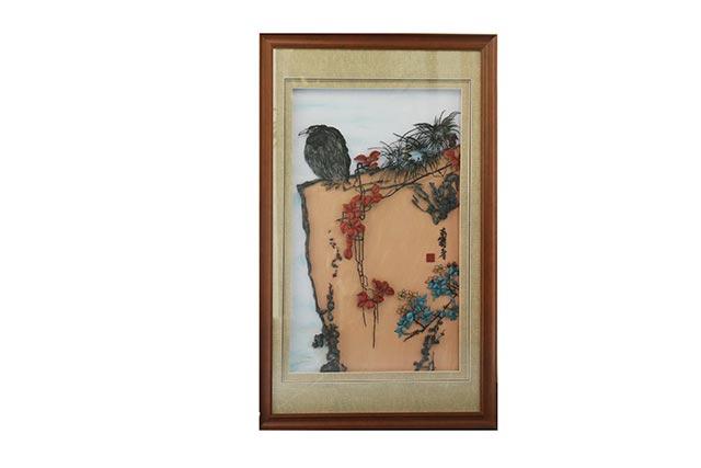 鹰石山花图
