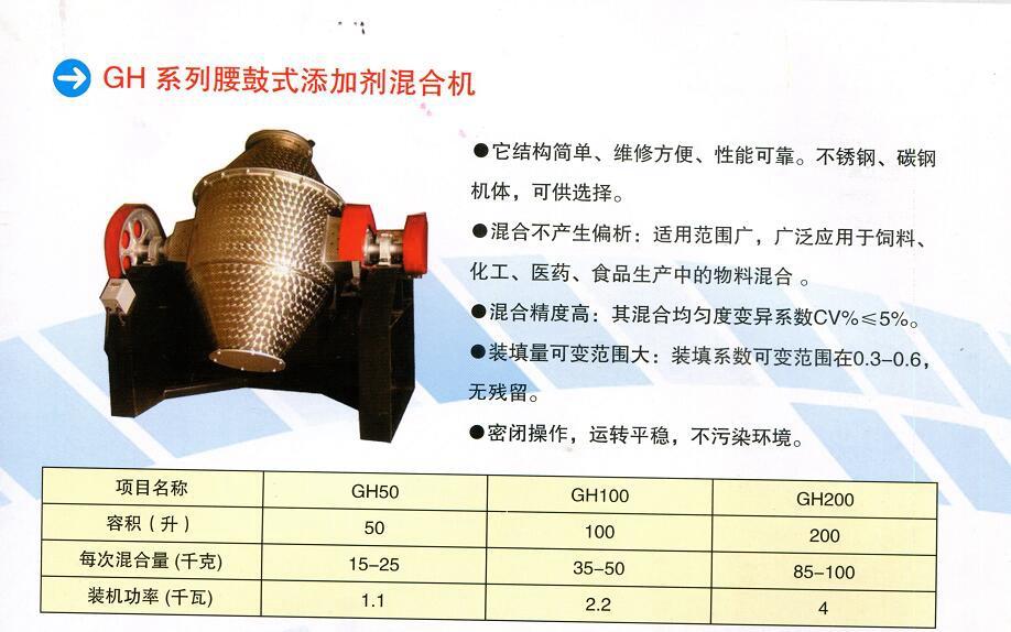 GH系列腰鼓式添加剂混合机
