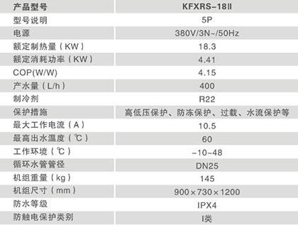 常温型热水系列KFXRS-18Ⅱ