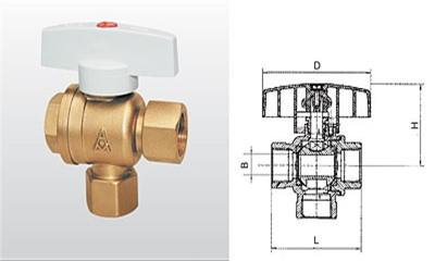 埃美柯球阀-Q15F-16T 黄铜暖气三通球阀