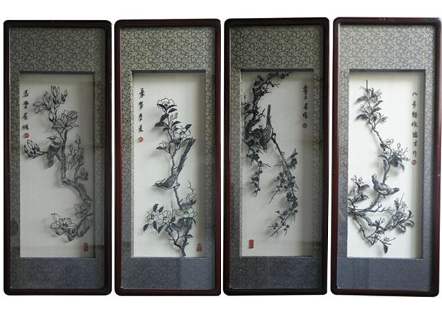 《四季花鸟》铁画套装