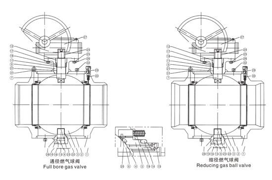 全焊接球阀内部结构图