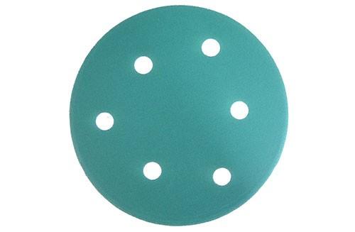 5寸6孔绿色背绒圆盘-氧化铝-320#