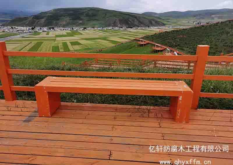 景区防腐木休息长椅
