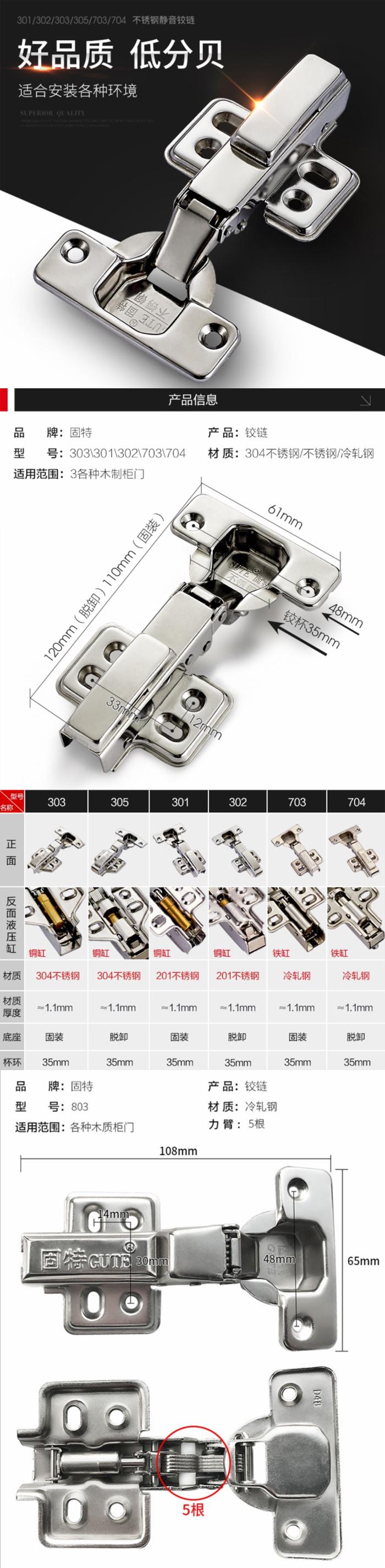 【建材厂家】固特铰链304不锈钢阻尼烟斗合页
