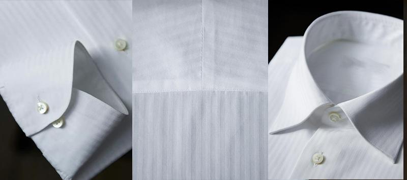 暗人字纹白色衬衫