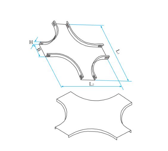 槽式圆弧型水平四通