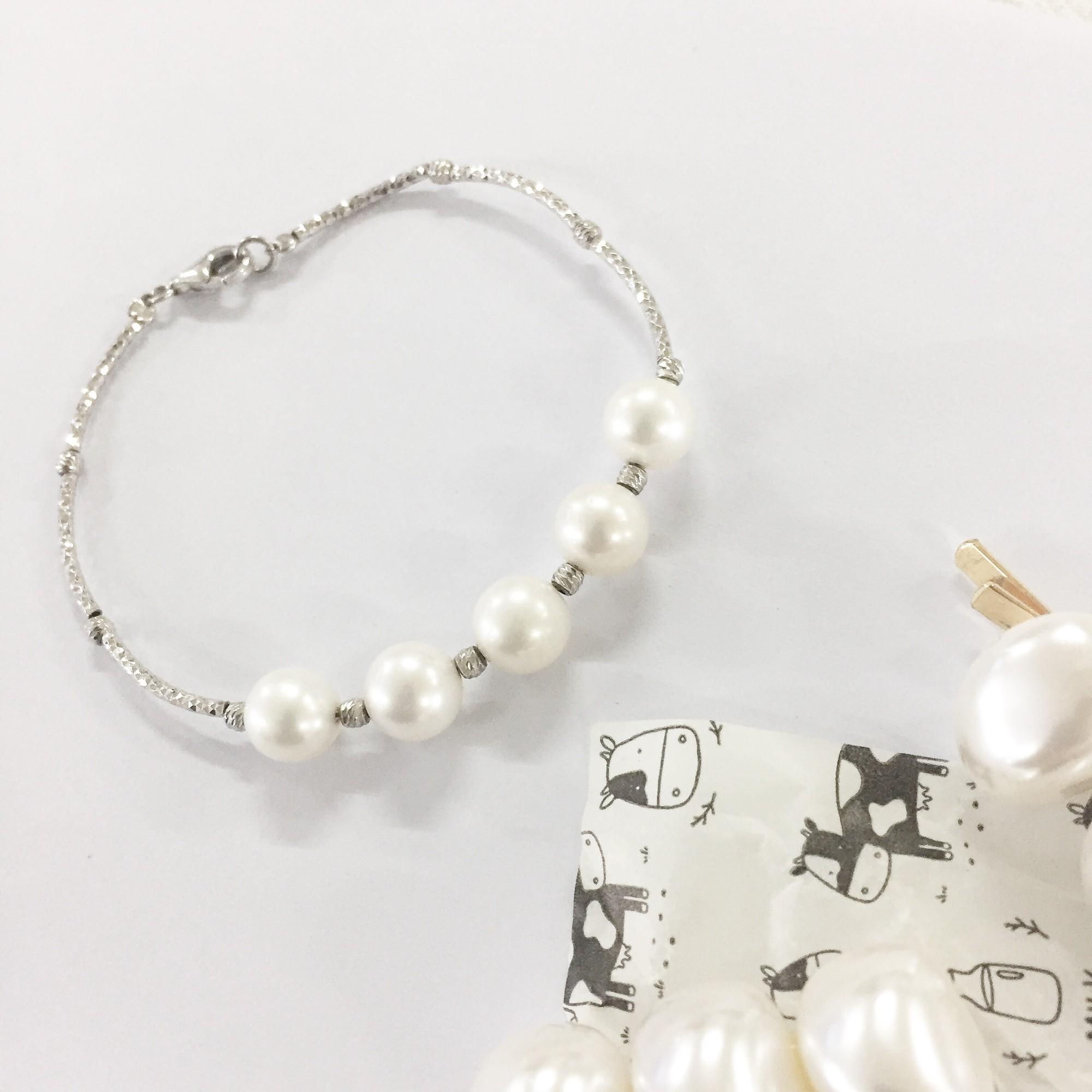 简约轻奢精美淡水珍珠手链女纯银