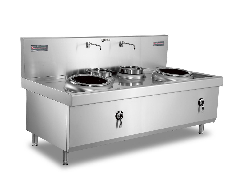商用不锈钢厨具大功率小炒灶_商用电磁炉400双头双尾小炒灶