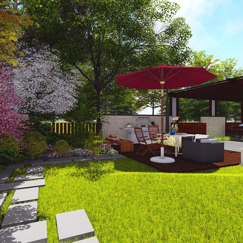 别墅庭院小鱼池设计_现代简约庭院景观_小庭院景观设计