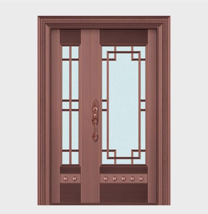 别墅玻璃铜门定制