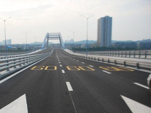 六安高架桥道路标线施划