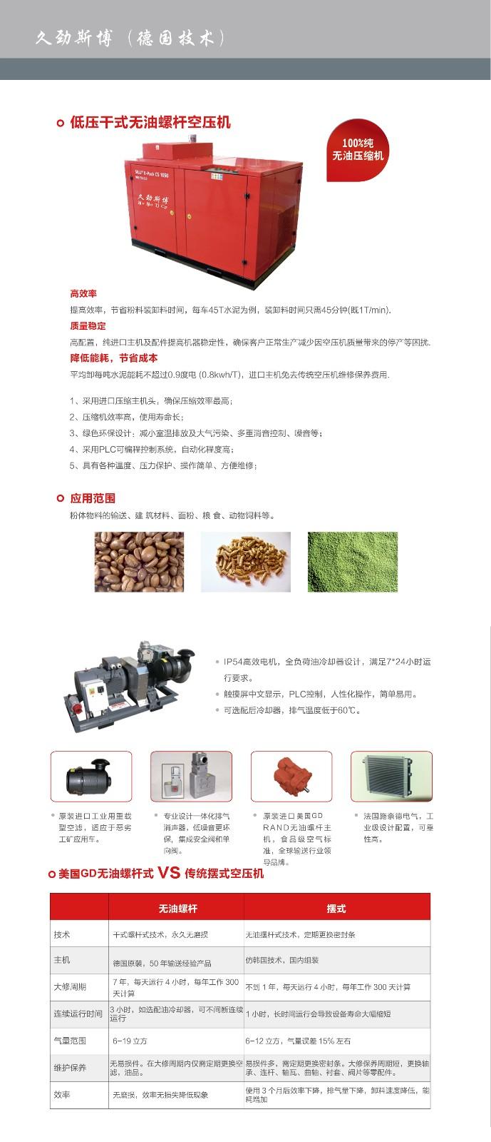 低压干式无油螺杆空压机