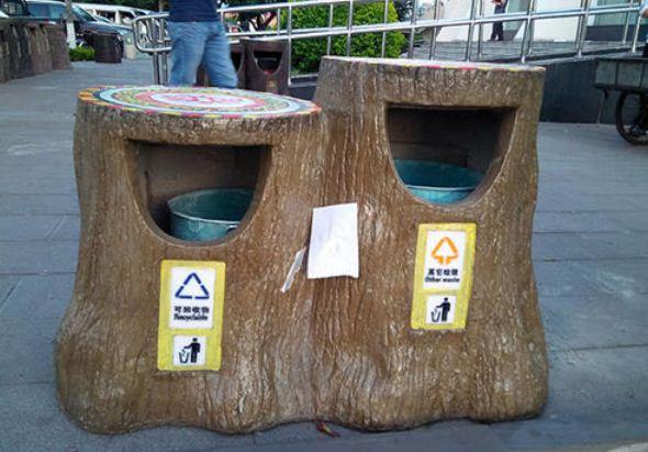 仿木垃圾桶的应用