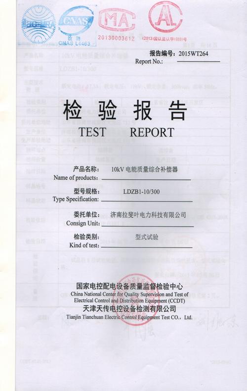 检验报告-10kV电能质量综合补偿器