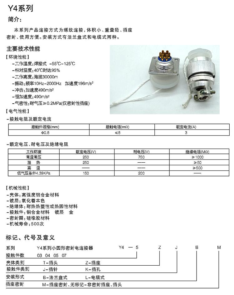 Y4系列小圆形电连接器