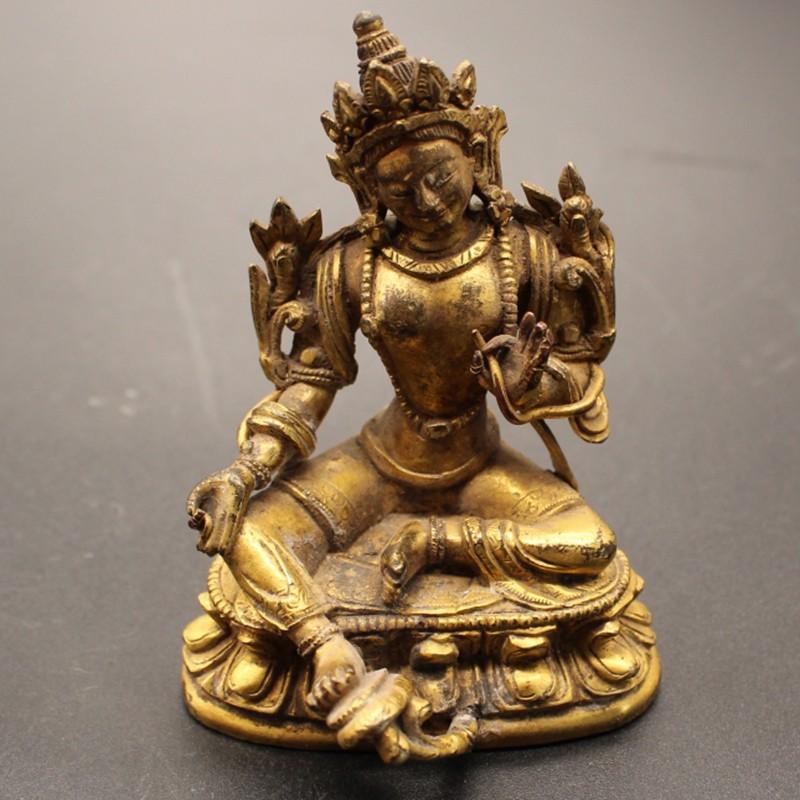 铜鎏金度母像