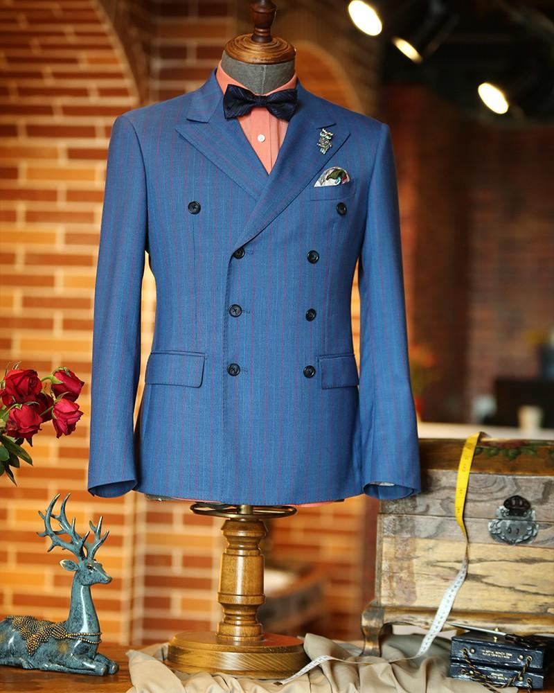 蓝色双排扣红条纹时尚套系