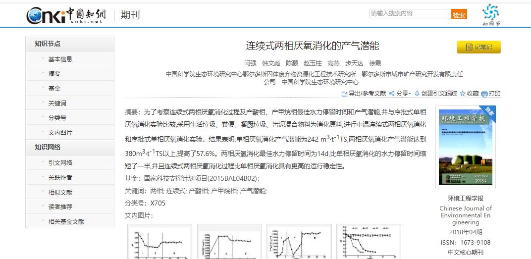 连续式两相厌氧消化的产气潜能