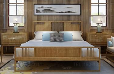 【建材批发】新中式实木床架子床原木床