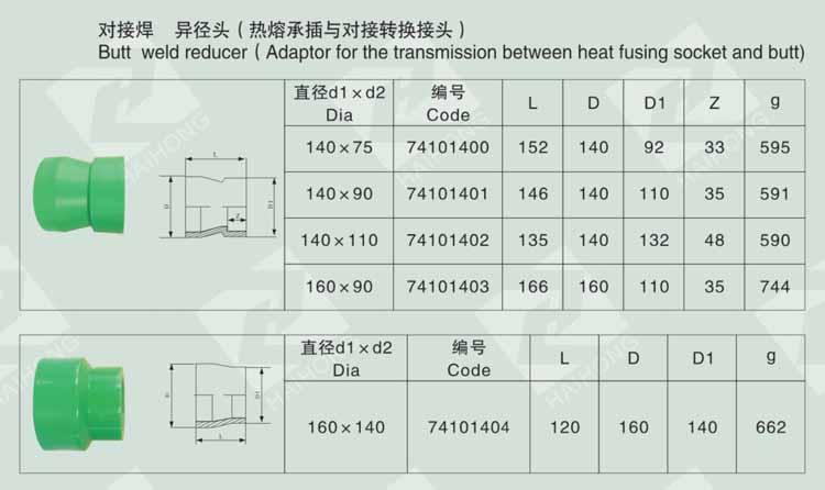 对接焊 异径头(热熔承插与对接转换接头)
