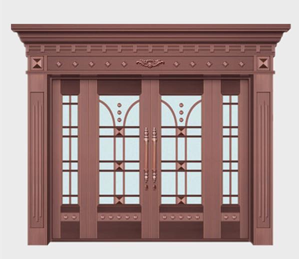 别墅玻璃铜门加工