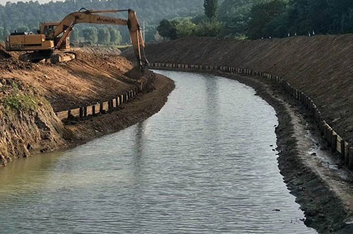 河道护坡木桩施工现场
