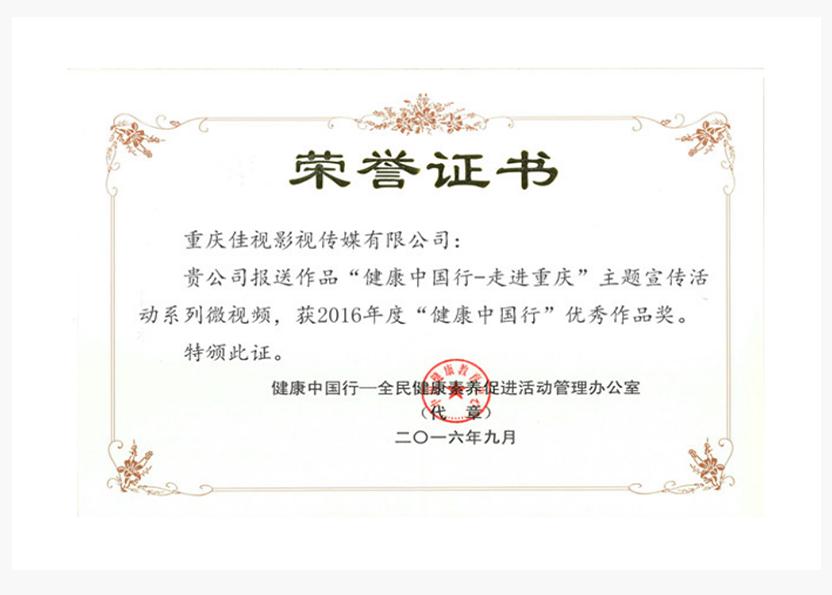 """2016年度""""健康中国行""""作品奖"""