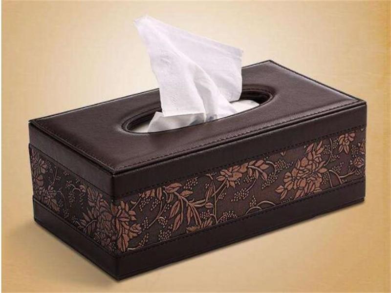皮质纸巾盒
