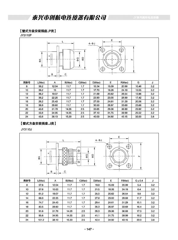 JY系列特种军用防水圆形航空插头、电连接器、接插件