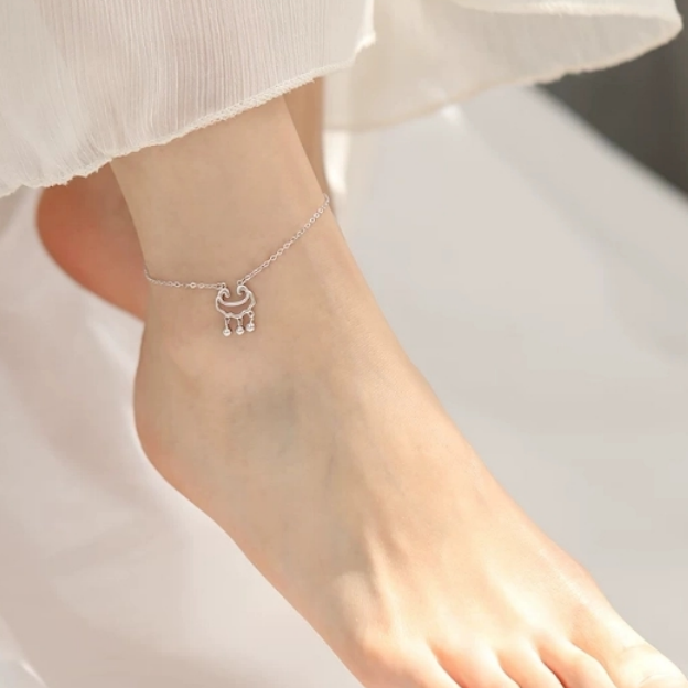 925银长命锁学生脚链