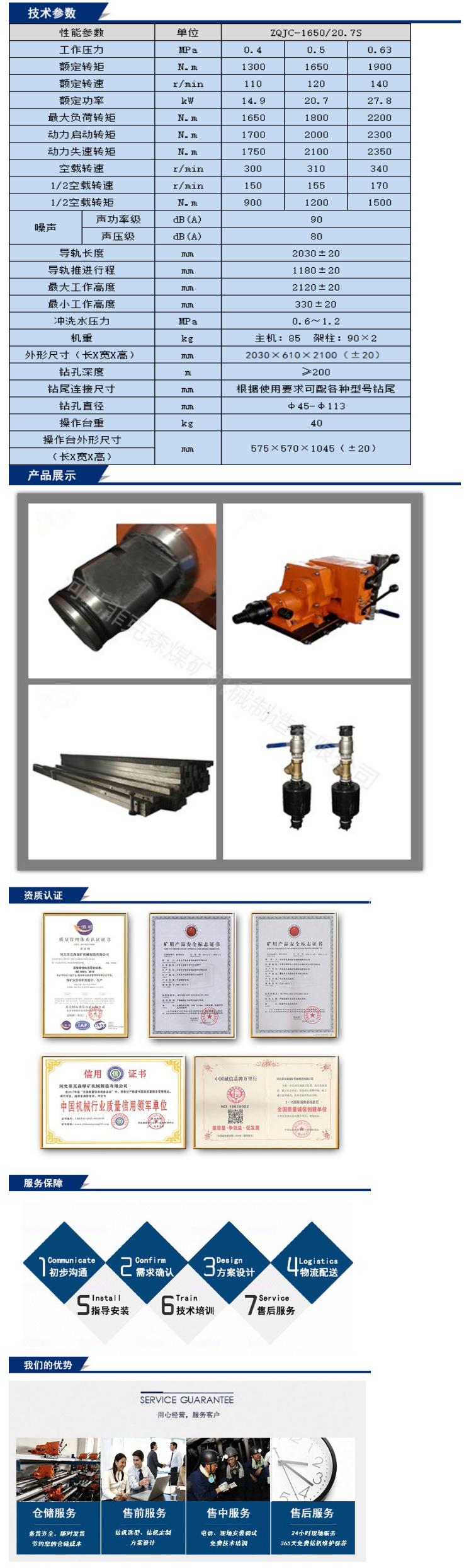 氣動架柱式鉆機ZQJC-1650/20.7S