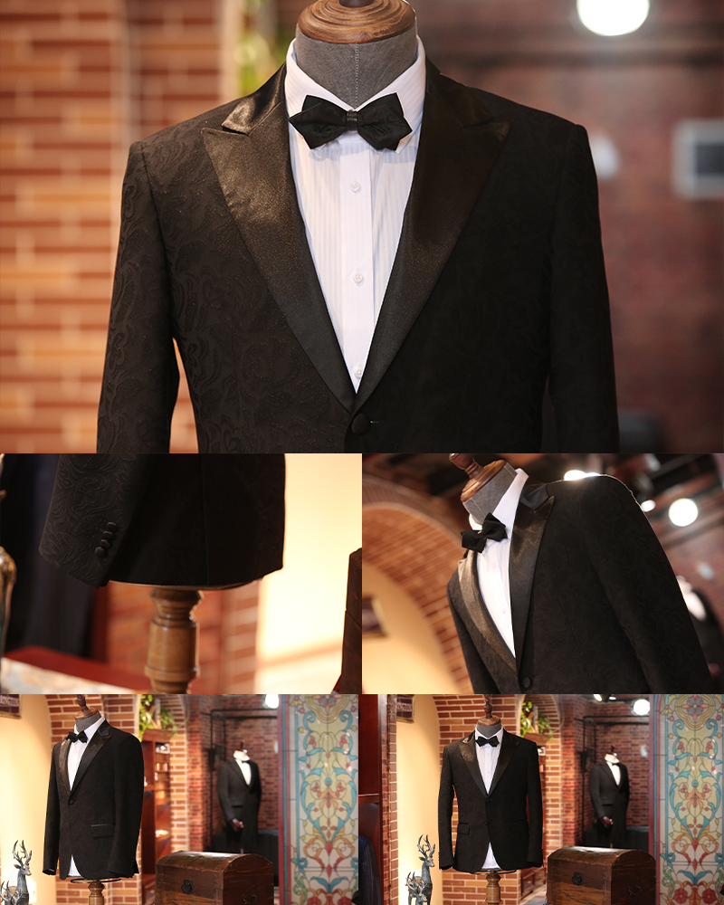 黑色暗花纹礼服套系