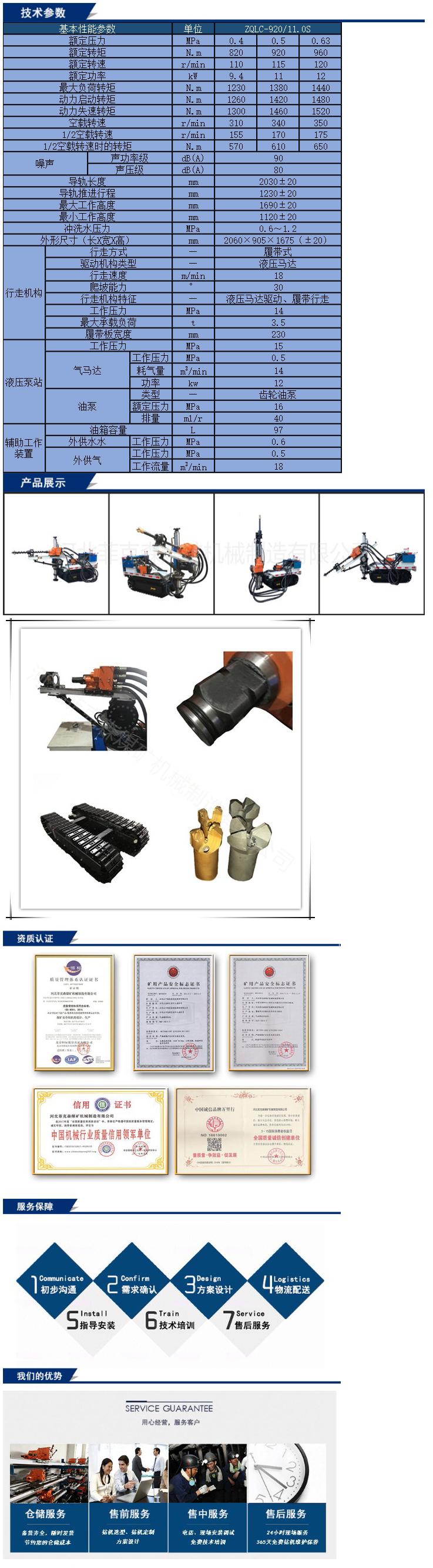 氣動履帶式鉆機ZQLC-920/11.0S